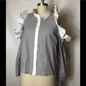 Bp striped ruffled cold shoulder blouse size MED